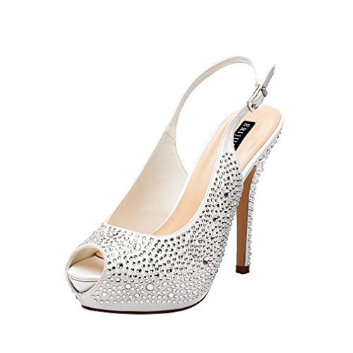 ERIJUNOR E1425 Women High Heel Peep Toe Rhinestones Slingback Platform Pumps Wedding Evening Dress Shoes Ivory Size 9