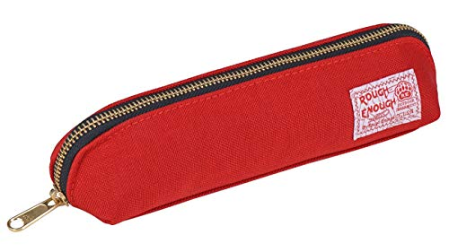 (Rough Enough Cool Long Slim Pencil Case Organizer Pouch for Adults Boys Girls with Zipper in YKK Gold Colored for School Stationary Art Supplies Accessories School)