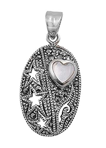 - Star Heart Pendant Mother of Pearl Marcasite .925 Sterling Silver Cutout Charm Jewelry Making Supply Pendant Bracelet DIY Crafting by Wholesale Charms