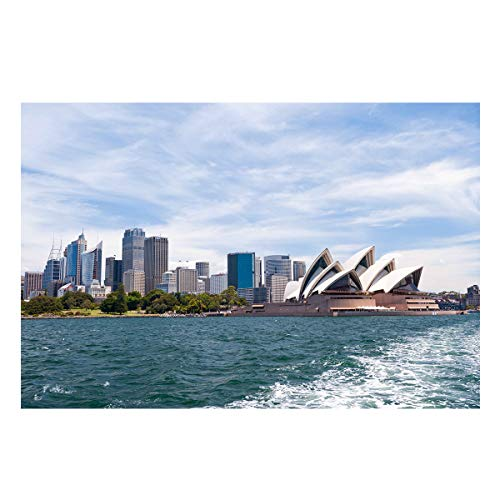 Fantasy Star Aquarium Background Sydney Opera House Fish Tank Wallpaper Easy to Apply and Remove PVC Sticker Pictures Poster Background Decoration 24.4