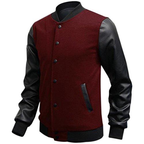 Uomo Vino Jacket Baseball Cuciture Pu Giubbotto Felpa College Rosso Moda In Minetom Pelle SZgPqdd
