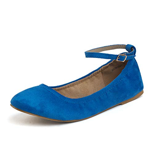 DREAM PAIRS Women's Sole-Fina-Straps Royal Blue Ankle Straps Ballet Flats Shoes - 8 B(M) US ()