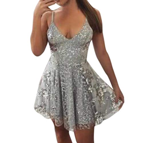 c4c433529096 ANJUNIE Women Sexy Lace Solid Sleeve Back Hollow Short Party Elegant Dress (Silver,XL