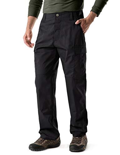 CQR Men's ACU/BDU Rip Stop Trouser EDC Tactical Combat Pants, BDU Tag Button(ubp02) - Black,