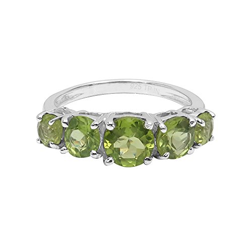 - Natural Round Shape Peridot Five Stone Ring Solid .925 Sterling Silver For Women Girls (Size-8)