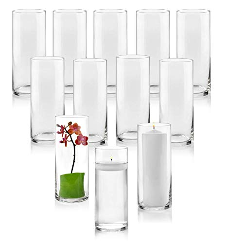(Set of 12 Glass Cylinder Vases 10 Inch Tall - Multi-use: Pillar Candle, Floating Candles Holders or Flower Vase – Perfect as a Wedding Centerpieces)