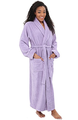Del Rossa Womens Turkish Terry Cloth Robe, Long Cotton Bathrobe, Large XL Orchid Petal Purple (A0126PRPXL)