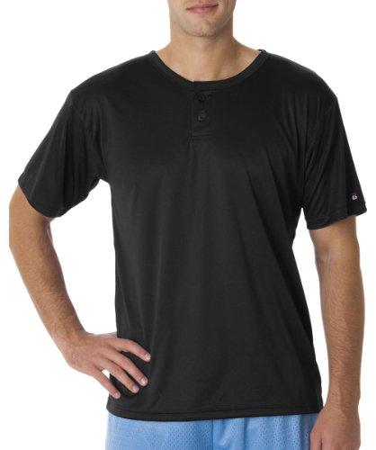 Badger Adult Short Sleeve Henley T-Shirt, Black, XXXX-Large