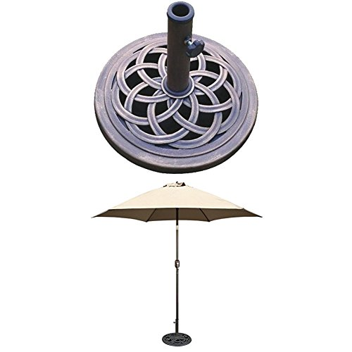 DC America UBP18181-BR 18-Inch Cast Stone Umbrella Base, Made from Rust Free Composite Materials, Bronze Powder Coated Finish WITH TropiShade 9 ft Bronze Aluminum Market Umbrella with Beige Polyester Cover