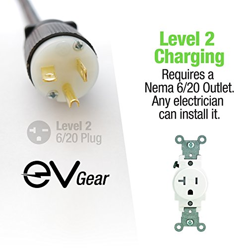 Level 2 EV Charger by EV Gear | 30 ft Portable Plug-In Charger, 110v - 240v | Includes Level 1 Adapter | Works with ALL Electric & Hybrid Cars such as Chevy Volt/Bolt, Nissan Leaf, Prius Prime, Tesla by EV Gear (Image #3)'