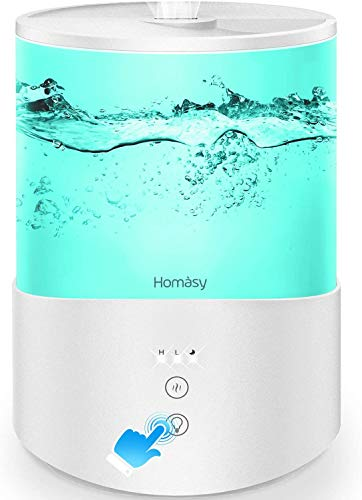 Homasy ColorMist Cool Mist Humidifier, 25dB Humidifiers Essential Oil Diffuser with 7-Color Lights, 2.5L Humidifier for…