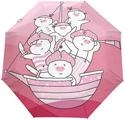 Chovy 日傘 UVカット ワンタッチ 折りたたみ傘 軽量 自動開閉 遮光 レディース メンズ 晴雨兼用 豚 ピンク 海賊 おもしろ かわいい 可愛い 雨傘 傘 晴雨傘 折り畳み 8本骨 遮熱 丈夫 耐風撥水 収納ポーチ付き プレゼント
