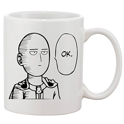 ZMvise One Punch Man Ok Fashion Quotes White Ceramic Mug Cup Perfect Christmas Halloween Gfit ()