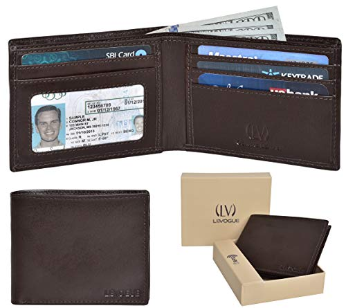 Brown Italian Wallet - Genuine Leather RFID Blocking Handmade Bifold Wallet for Men 4 Credit card+1 ID Window+2 Note Compartment Front Pocket Mens Wallet- Made From 100% Full Grain Cow Leather (Brown Italian V.T.)