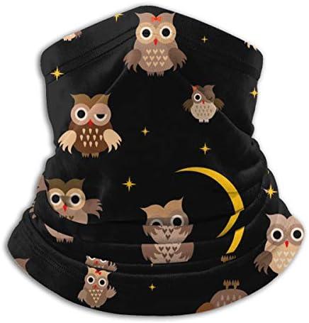 Cartoon Owl At Night ネックガード 伸縮 通気性 バンダナ バイク用 フェイスガード 多機能 マジックスカーフ