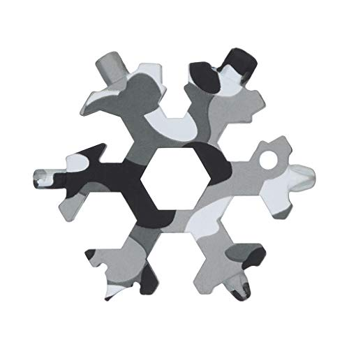 Bone Shape Keychain - Lywey 19-in-1 Multi-tool Wrenches Combination Compact Portable Outdoor Snowflake Tool