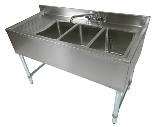 - John Boos EUB3S48-1LD Stainless Steel Bar Sink, 3 Compartments, 48