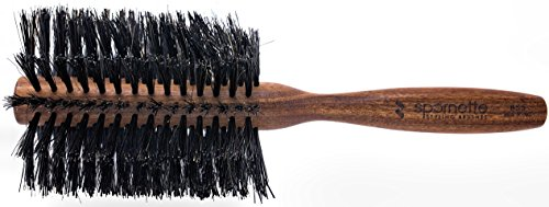 Spornette Italian 3 inch Round Boar Bristle Brush #855 with Wooden Handle for Blowouts, Styling, Volume, Straightening & Curling Medium, Long, Thin, Thick, Straight, Curly, & Normal - Round Boar By Spornette Brush