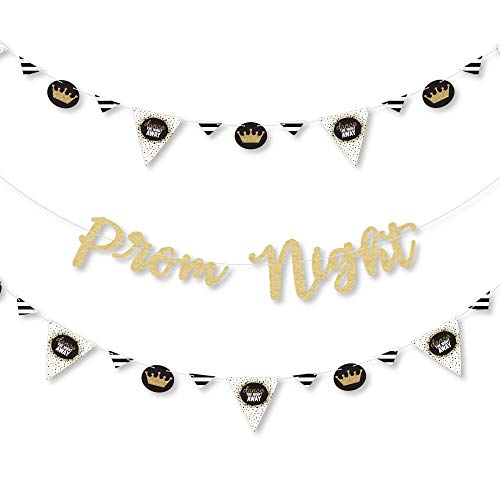 Prom - Prom Night Party Letter Banner Decoration - 36 Banner Cutouts and No-Mess Real Gold Glitter Prom Night Banner Letters]()