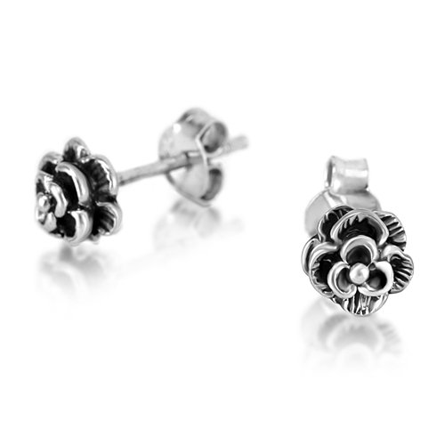 925 Oxidized Sterling Silver Tiny Rose Flower 6 mm Post Stud Earrings (Sterling Silver Oxidized Rose)