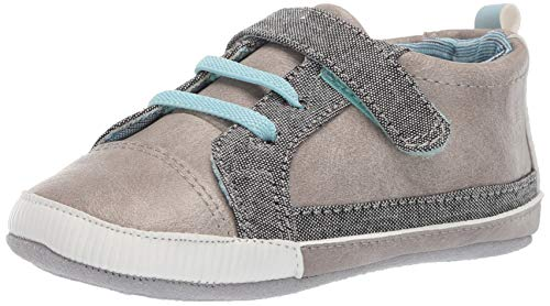 Ro + Me by Robeez Boys' Parker Sneaker Crib Shoe, Grey, 12-18 Months
