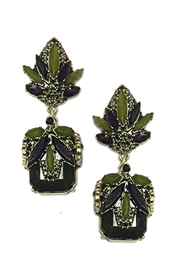 High Fashion Big Chunky Statement Olive Jade Hunter Green Emerald Acrylic Rhinestone Crystal Long Dangle (Emerald Jade Earrings)