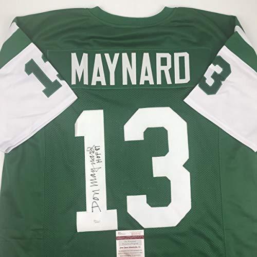 Autographed/Signed Don Maynard HOF 87 New York Green Football Jersey JSA COA