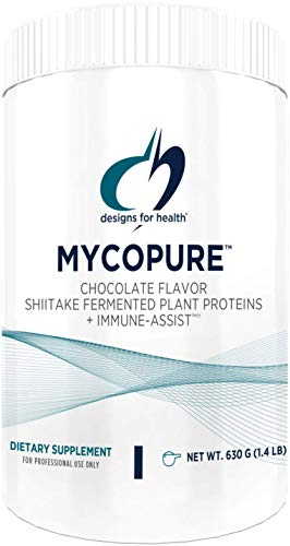 Designs for Health MycoPure Chocolate Mushroom Protein - Vegan Shiitake Fermented Rice Pea Protein + Immune Support Mushrooms (1.4 pounds / 15 Servings)