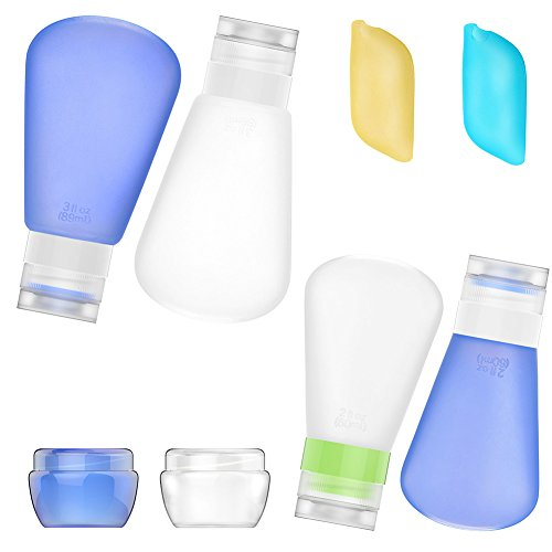 Bariho Portable 3-layer Leakproof Silicon Soft Travel Bottle Sets(8PCS) With Cosmetic Containers(10mL) and Toothbrush Cover for ShampooToiletries