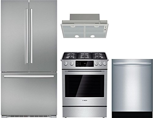 "Bosch 4-Piece Stainless Steel Kitchen Package with B21CT80SNS 36"" French Door Refrigerator, HDI8054U 30"" Slide-in Dual Fuel Range, DHL755BUC 30"" Custom Hood Insert, and SGX68U55UC 24"" Fully Integrated"
