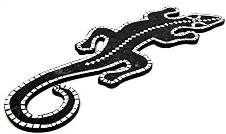Artisanal Gecko margouillat Salamandre Pared 60/cm mosaicos de Cristal Purpurina Negro