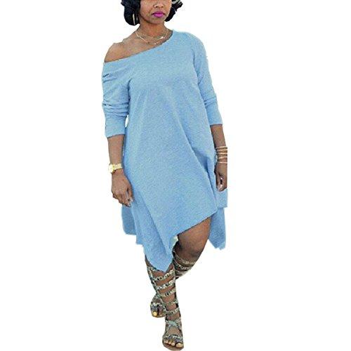 Women Plus Size Vintage Off Shoulder Long Sleeve Irregular Hem Midi Dress Blue 3XL