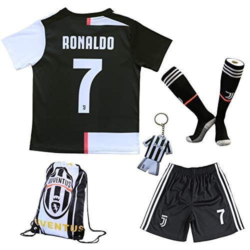 GamesDur 2019/2020 Cristiano Ronaldo #7 Home Football Soccer Kids Jersey & Short & Sock & Soccer Bag Youth Sizes (New Season Home, 3-4 Years) ()