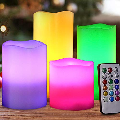 HOME MOST Set of 4 Flickering Real Wax Flameless LED Pillar Candles with Remote 3x3 3x4 3x5 3x6 Multi Colored - Unscented Battery Operated Pillar Candles Bulk - Color Changing Candles