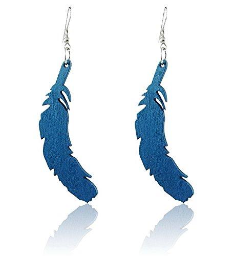Spk Jewelry Vintage Tribal Feather Wood Handmade Filigree Dangle Teardrop Earrings (Thailand Traditional Costume Name)