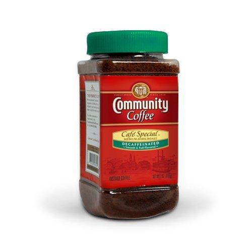 (Community Coffee Café Special Decaf Medium Dark Roast Premium Instant 7 Oz Jar (4 Pack), Full Body Rich Flavorful Taste, 100% Select Arabica Coffee Beans)