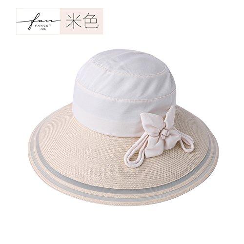 Air supply rope,Beige Women's Adjustable Beach Floppy Sun Hat