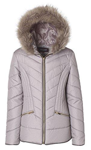 Sportoli Junior Women's Down Alternative Promo Puffer Jacket With Fur Trimmed Hood - Millstone (Medium)