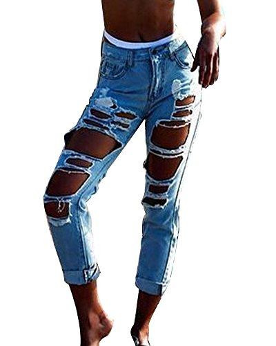 Hole Azzurro Straight Pantaloni Jeans Distrutti Lunghi Boyfriend In Strappati Denim Donna p14TqH