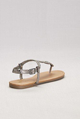 Davids Brude Krystallspekket Scalloped Metalliske T-stropp Sandaler Stil  Selene Tinn ...