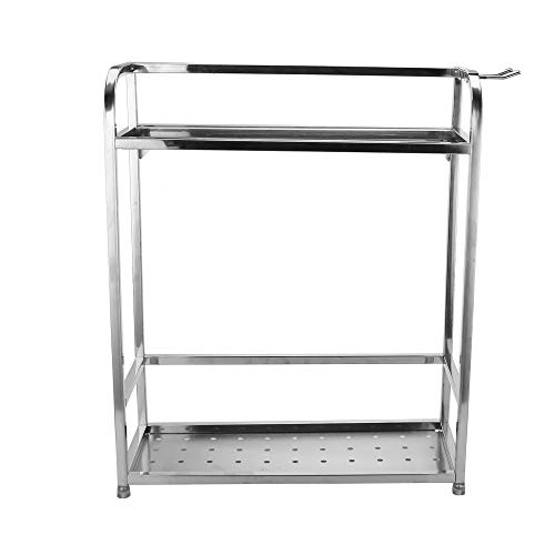 Price comparison product image Spice Rack Stainless Steel 2 Tier Spice Rack Stand Holder Kitchen Bathroom Countertop Storage Shelf Holder Shipped from USA (Silver)