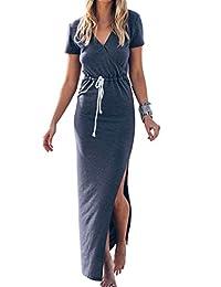 YACUN Women's Maxi Casual Split Dress With Waist Tie