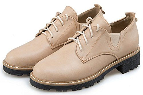 IDIFU Womens Fashion Low Chunky Heels Low Top Lace Up Oxfords Wear To Work Office Shoes Apricot YQRra03IX
