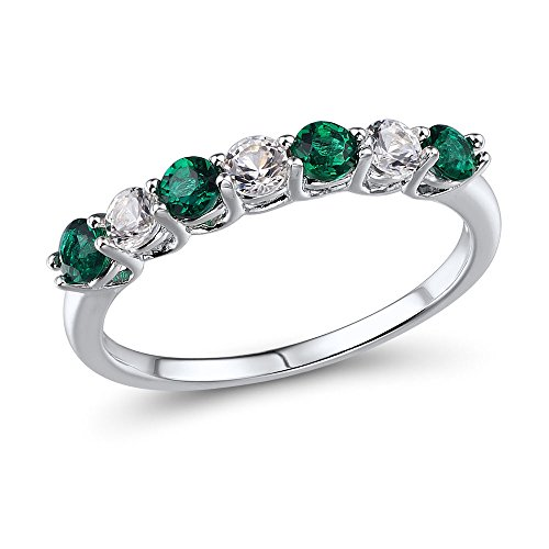 Lab Created Emerald and Lab Created White Sapphire 7-Stone Ring in Rhodium Plated Sterling (Lab Created Emerald Stone)