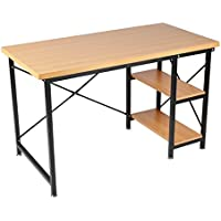 Homgrace Computer Desk, 47 Office Desk Computer Table Study Writing Desk Workstation for Home (Beech Color)
