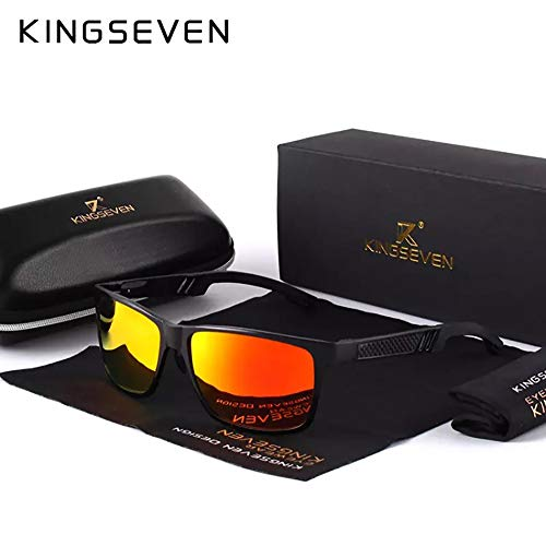 Genuine Kingseven sunglasses 2018 men fashion polarized UV400 Ultra light Al-Mg (Black/Red)