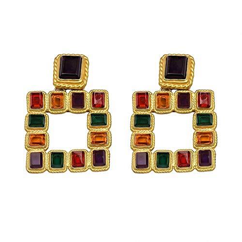 Women Statement Multicolored Squared Earrings Vintage Stud Earrings Women 51209-Mt
