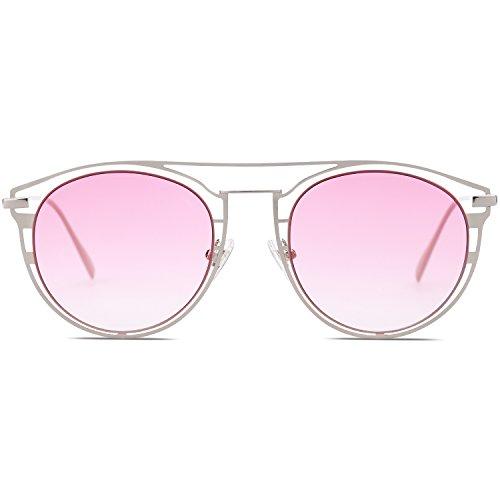 SJ1097 Cadre Femmes Mode Dégradé de Lentille Métal soleil Lunettes Rose Street Argenté pour Miroité SwztwqR8x
