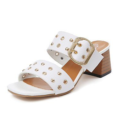 RUGAI-UE Moda de Verano Mujer sandalias casuales zapatos de tacones PU Confort,Blanca,US8 / UE39 / UK6 / CN39 Beige