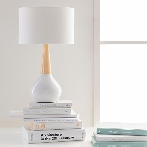 Table Lamp / Desk Lamp, Mid-Century/Contemporary Evan Table Lamp in Wood Finish, 18.5 inches high x 11 inches wide x 11 inches deep (Wood Contemporary Table Lamp)